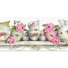 Cross Stitch Kit Flowers Tea cups DIY Cross stitch Set Hand Embroidery Handmade gift Wall Decor Home decor Idea Gift Learn Embroidery, Embroidery Kits, Cross Stitch Embroidery, Cross Stitch Patterns, Tapestry Kits, Needlepoint Kits, Counted Cross Stitch Kits, Modern Cross Stitch, Scrap