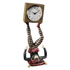 Design Toscano Juggling Time Harlequin Jester Analog Square Indoor Tab