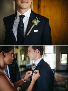 Suit with navy tie. Wedding Boutonniere, Groom Style, Groomsmen, Suit Jacket, Tie, Suits, Navy, Jackets, Fashion