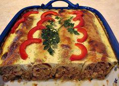 Clatite la cuptor cu carne si ciuperci - Baked Pancakes with meat and mushrooms - Romanian