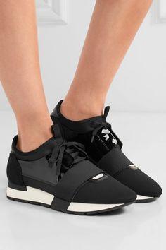 sports shoes c6097 b8e17 Balenciaga - Race Runner patent-leather, mesh and neoprene sneakers. Zapatillas  De ...