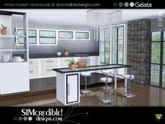 Gelata modern fully recolorable kitchen by SIMcredible Designs - Sims 3 Downloads CC Caboodle