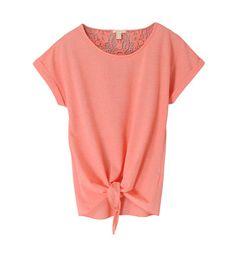 Tee-shirt chiné doux à dos en dentelle Esprit en orange pour femme - Galeries Lafayette