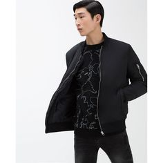 Zara Bomber Jacket ($80) ❤ liked on Polyvore featuring men's fashion, men's clothing, men's outerwear, men's jackets, mens sherpa lined jacket and mens fur lined bomber jacket