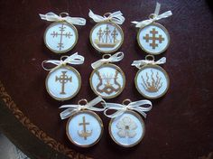 Chrismon Ornaments Cross Stitched for Christmas or Easter