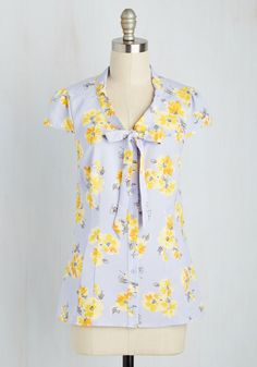 Freelance Spirit Top in Blossoms by ModCloth - Mid-length, Woven, Grey, Lavender, Floral, Bows, Work, Darling, Short Sleeves, Spring, Better, Exclusives, Variation, Private Label, V Neck, SF Fit Shop