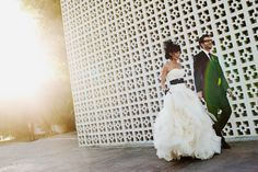 """Newlyweds take #wedding portraits outside the Parker Palm Springs resort. Bride's """"Diana"""" gown by Vera Wang, Groom's suit by Paul Smith   Photography By Apertura"""