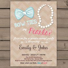 Gender reveal invitation Bow ties or pearls by Anietillustration
