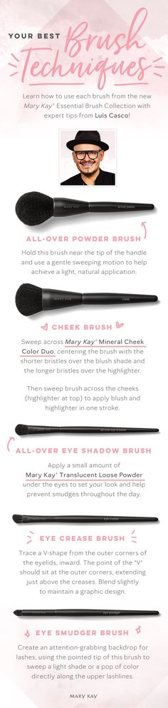 It's time for a beauty brush-up! These expert tips from celebrity makeup artist Luis Casco make foundation, eye and cheek application easy and seamless. | Mary Kay