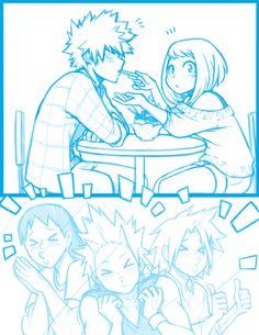 Aww those dorks   Katsuki Bakugo and Ochako Uraraka