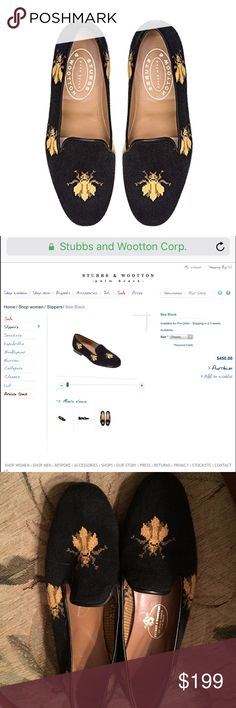VINTAGE STUBBS AND WOOTTON BEE SHOES Listing and will get more information soon! The two photos are listed directly from the website, however these are in pre love vintage condition. Only major sign of wear is some scuffing on the bottom. Otherwise, a fantastic pair for any S&W lover! Don't hesitate to make a fair offer. *accidently listed as a 10, they are in fact an 11 💕💕 Stubbs & Wootton Shoes Flats & Loafers