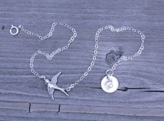 All 925 Sterling Silver initial ANKLET Swallow by potionumber9, $29.00