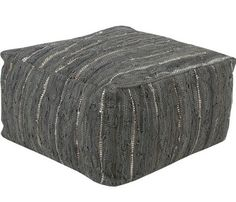 Grey home decor accents - Henry Woven Leather Gray Poufs