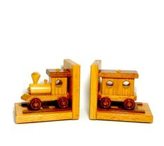 Train Bookends Wooden Train Wood Train Bookends by TheVintagePorch