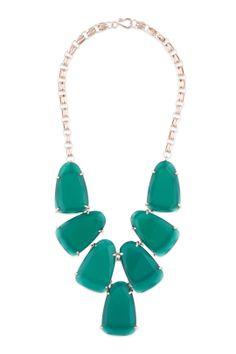 KENDRA SCOTT, Green Stone Bib Necklace. Retail: $145, Rental: $40
