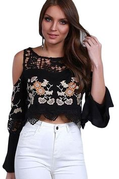 Crop Top Femme Manche Longue Crochet Fleur Froide Epaule Noir. Crop  TopsLong SleeveBlack PeopleFlorals 5f6edb2e62db