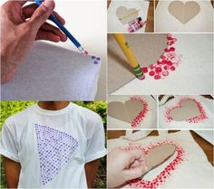 Bleistiftgummi verwenden um Kreise auf T-Shirt zu machen