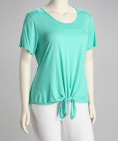 Take a look at this Mint Lace-Back Plus-Size Scoop Neck Top by Tua Plus on #zulily today!