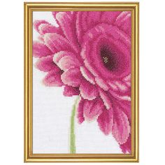 "Pink Flower  GIANT GERBER DAISY with petals of pretty pink. Counted cross stitch kit includes 27-count white evenweave you stitch over two threads, presorted DMC cotton floss, floss card, needle, chart and instructions. 6 3/4"" x 9 1/4"" without frame. Imported from Belgium. A Stitchery exclusive! - $29.99"