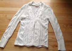 DKNY Jeans Ivory Cable Knit Cardigan Sweater Womans Petite Sz M | eBay