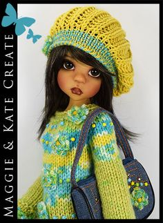 "Green, Blue & Yellow Outfit for Kaye Wiggs 18"" MSD BJD by Maggie & Kate Creat**e"