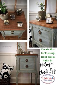 Use Dixie Belle Paint in Vintage Duck Egg to create rustic refinement. We love this creation by Colorful Home Designs! #dixiebellepaint #bestpaintonplanetearth #chalklife #homedecor #doityourself #diy #chalkmineralpaint #chalkpainted #easypeasypaint #makingoldnew #whybuynew #justpainting #paintedfurniture