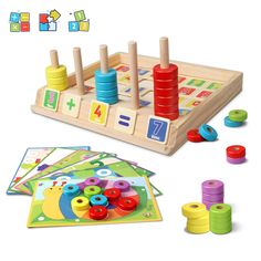 Lydaz Wooden Puzzles Counting Toys, Montessori Preschool Learning Educational Math Toys for Toddlers, Matching Shape Sorter Stacking Blocks Fine Motor Skills Toys for 3 Year Olds and Up ** More info could be found at the image url. (This is an affiliate link)