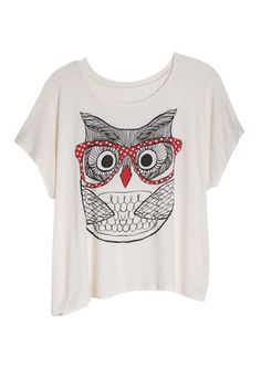dELiAs > Owl with Glasses Tee > tops > graphic tees > view all graphic tees - StyleSays