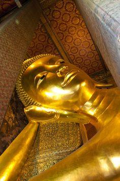 The large Reclining Buddha at Wat Pho, Bangkok, Thailand by Phadermchai Kraisorakul Bangkok Travel, Bangkok Thailand, Thailand Travel, Buddhist Temple, Buddhist Art, Safest Places To Travel, One Night In Bangkok, Reclining Buddha, Wat Pho