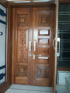 House Main Door Design, Wooden Front Door Design, Home Door Design, Main Entrance Door Design, Double Door Design, Pooja Room Door Design, Door Design Interior, Wooden Double Doors, Wooden Front Doors