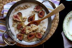 Brown Sugar Roasted Fig Oatmeal Recipe with figs, olive oil, brown sugar, old-fashioned oatmeal, water, salt, grated nutmeg, almond milk, brown sugar