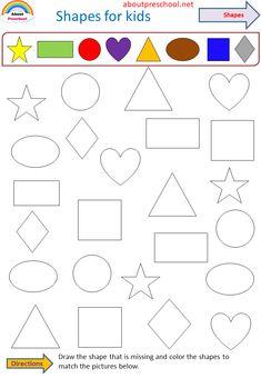 Shape Worksheets For Preschool, Shapes Worksheets, Preschool Writing, Kindergarten Worksheets, Kids Worksheets, Preschool Learning Activities, Preschool Curriculum, Toddler Activities, Preschool Colors