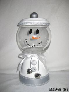 Medium Sized Clay Snowman Candy Jar dish by SeasonalJars on Etsy, $14.99