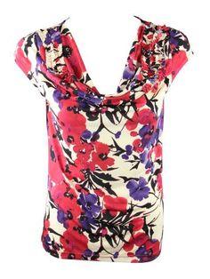 Anne Klein Womens Persimmon Multi Floral Cowl Neck Cap Sleeve Top S Anne Klein. $33.00. Save 44%!