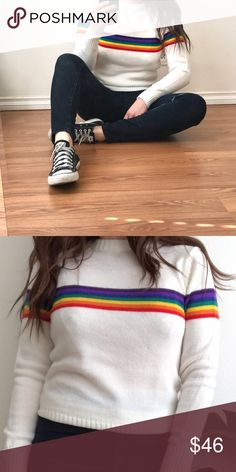 "1980's / Rainbow striped sweater Description coming soon.   VINTAGE--not by UO  *Prices rarely lowered, but lenient with reasonable offers. *  MY SIZE REFERENCE:  5'5""/ 135lbs / 36-A / MEDIUM IN TOPS AND SWEATERS Urban Outfitters Sweaters"