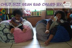 child size bean bag chairs, includes links to pdf template and video tutorial.