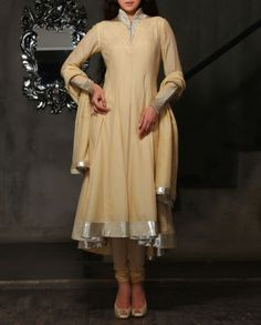 Beige Anarkali Suit with Pleated Yoke