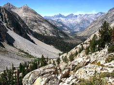 On the Brink: Kings Canyon National Park Palisade Creek Canyon  looking west to Le Conte Canyon and Black Divide, Kings Canyon National Park