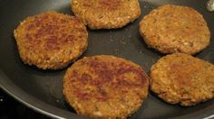 Vegan Nutritional Yeast Veggie Burgers - textured vegetable protein, quick-cooking rolled oats (not instant), oregano, basil, parsley, onion, garlic, mustard powder, ketchup, soy or tamari sauce, creamy peanut butter or tahini, GF flour, nutritional yeast
