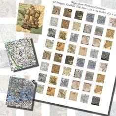 Images,Digital,Stickers,Collage,Illustration,medieval,ocean,vintage,Map,art,scrabble tile,rectangle