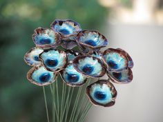 OOAK Bridal bouquet Aqua Turquoise and brown ceramic by orlydesign