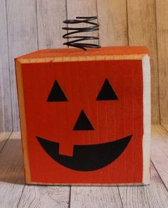 Pumpkin Wood Block Halloween Decor by SassyNanaDesigns on Etsy, $8.00