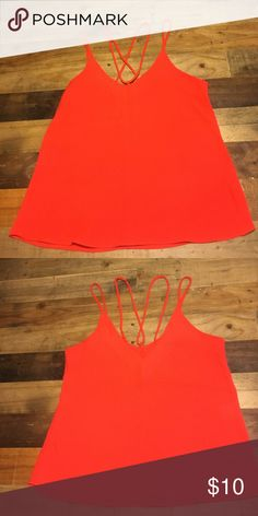 DEEP ORANGE TANK Criss cross straps make this top very stylish. Excellent conditions! Hirus Tops Camisoles