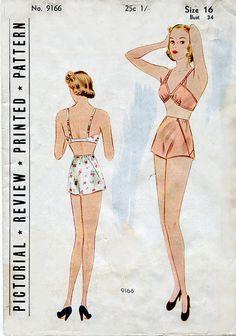 Vintage 1930s Lingerie Pattern Pictorial Review 9166