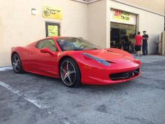Clear paint protection on a brand new Ferrari 458 Italia - complete hood, whole front bumper, along with the side view mirrors and front fenders.