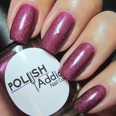 Murder House - A burgundy holo with tango-red, gold, neon pink flakiesPic credit:IG@colorsplashnails