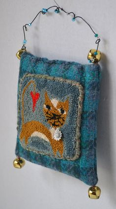 Punch Needle Kitty Wool Pillow Ornament  Blue by Gollywobbles, $16.00