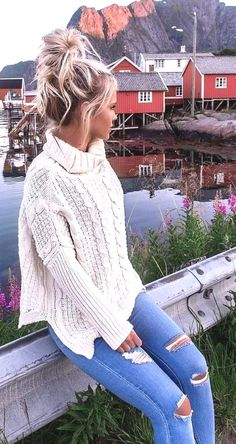 Women Sweater Women Sweater Document Location Http Bit Ly Summer Outfits White Knit Ripped Skinny Jeans Trend Fashion, Moda Fashion, Winter Fashion Outfits, Fall Winter Outfits, Autumn Fashion, Summer Outfits, Ootd Winter, Womens Fashion, Cheap Fashion
