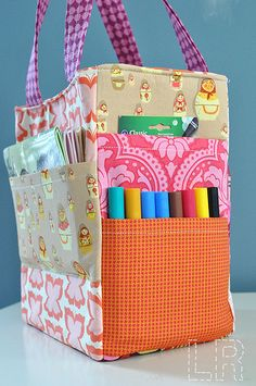 Art Caddy Tote Bag with pockets for all your craft things