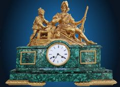 The clock on Don Jesus's mantle, a Century Spanish Revival Bronze and Malachite Clock. An important gilt bronze and malachite mantel clock representing a Conquistador and his apprentice leaning on a canon. The enameled dial with Roman numerals for hours. Online Furniture, Furniture Decor, Furniture Design, French Clock, Classic Clocks, Retro Clock, Mantel Clocks, As Time Goes By, Spanish Revival
